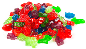 Pile of Michi-gummies candy